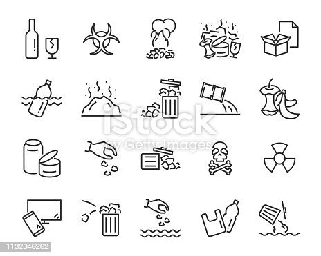 set of pollution icons, such as, pollution, dirty, bin, plastic, industry waste , world water day, waste