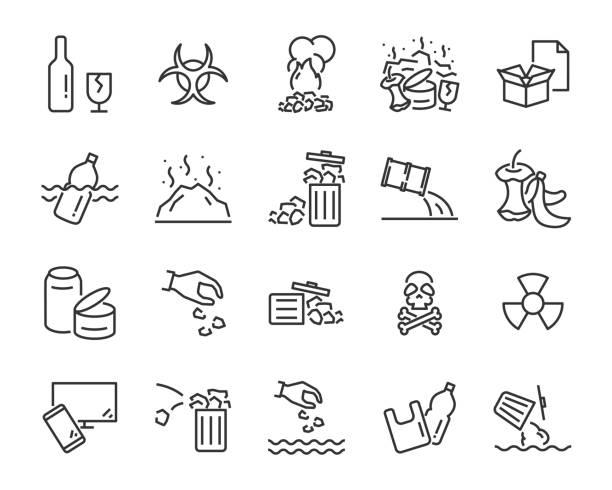 illustrations, cliparts, dessins animés et icônes de ensemble d'icônes de la pollution, tels que, pollution, sale, poubelle, plastique, déchets industriels, journée mondiale de l'eau, déchets - dechets