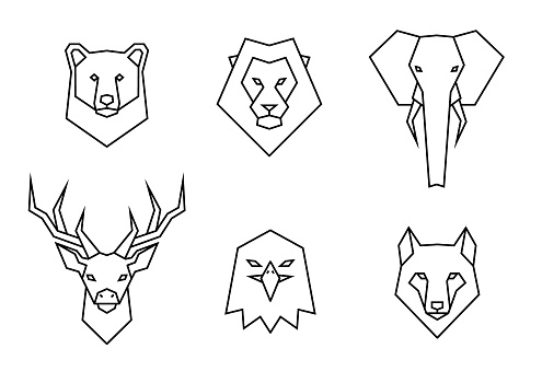Set of polygon wild animals icons. Geometric heads of a bear, lion, elephant, deer, eagle and wolf. Linear style vector collection illustration.