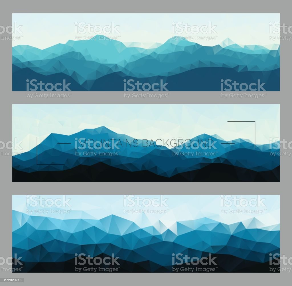 Set of polygonal mountain landscapes in different colors vector art illustration