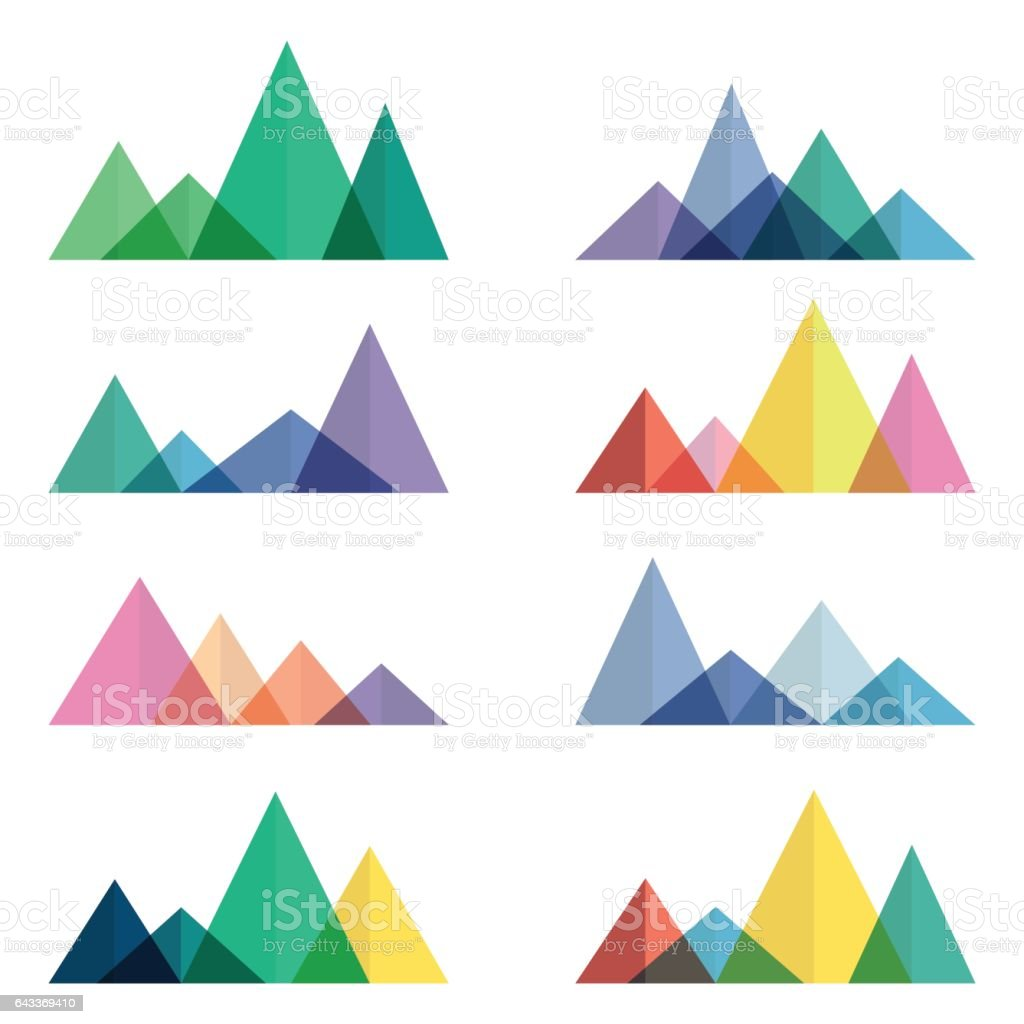 Set of polygonal mountain ridges vector art illustration