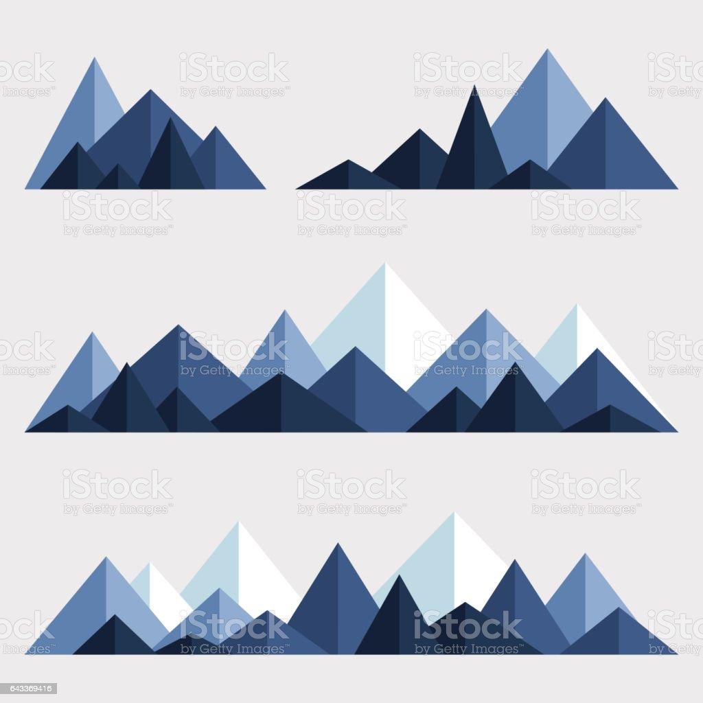 Set of polygonal mountain ridges vector art illustration