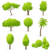 Set of abstract polygonal trees on a white background. Vector illustration.