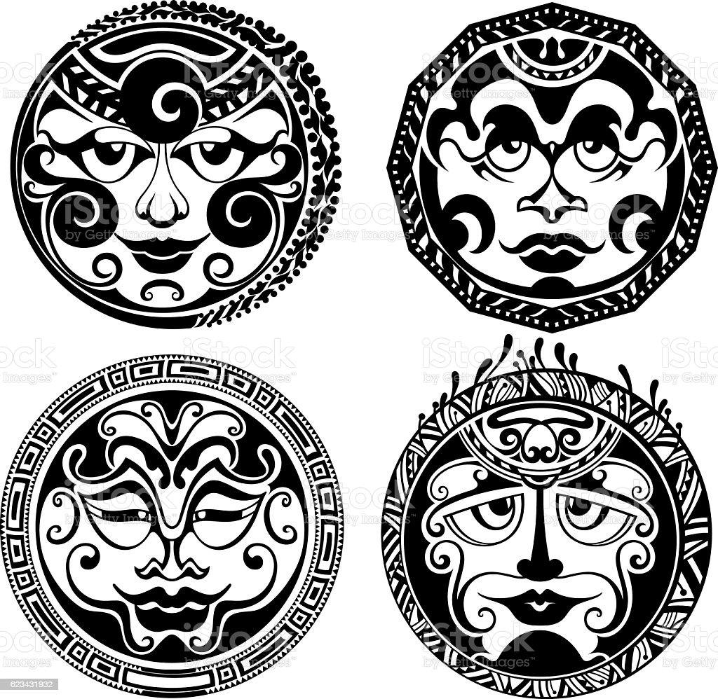 Set of polynesian tattoo styled masks. vector art illustration