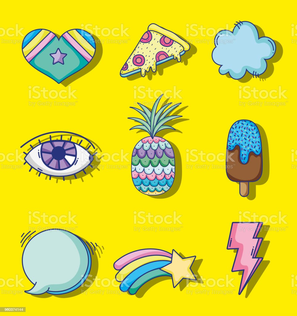 Set Of Pop Art Cartoons Stock Illustration Download Image Now