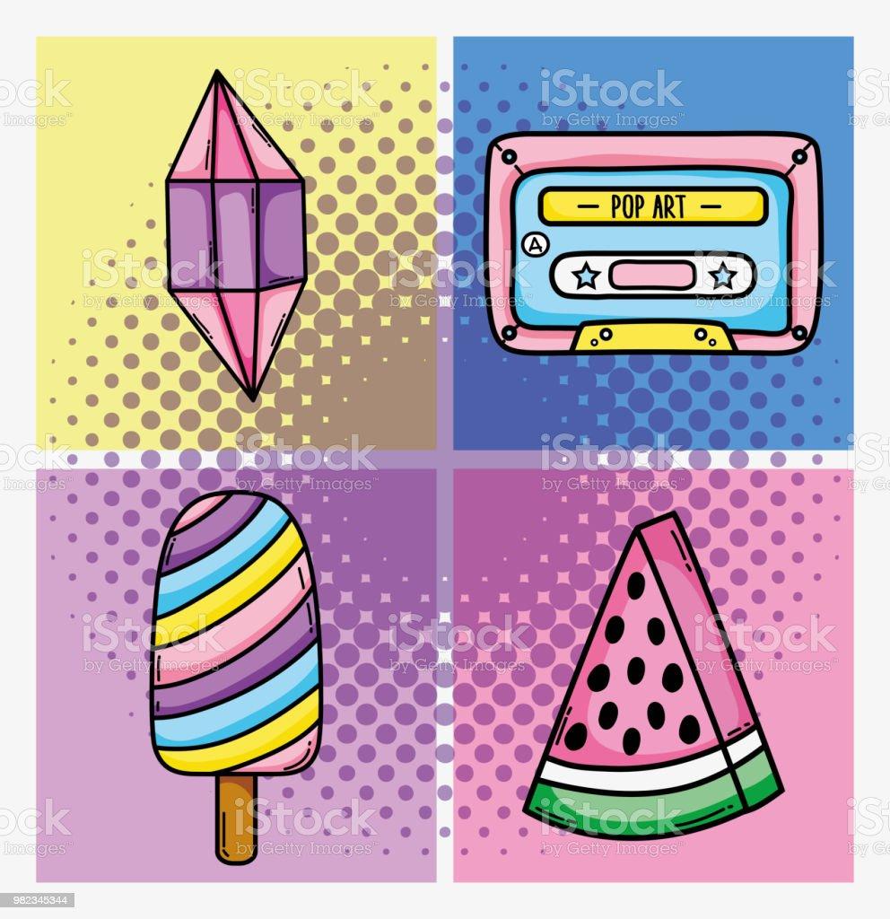Vetores De Conjunto De Pop Arte Desenhos Animados E Mais Imagens