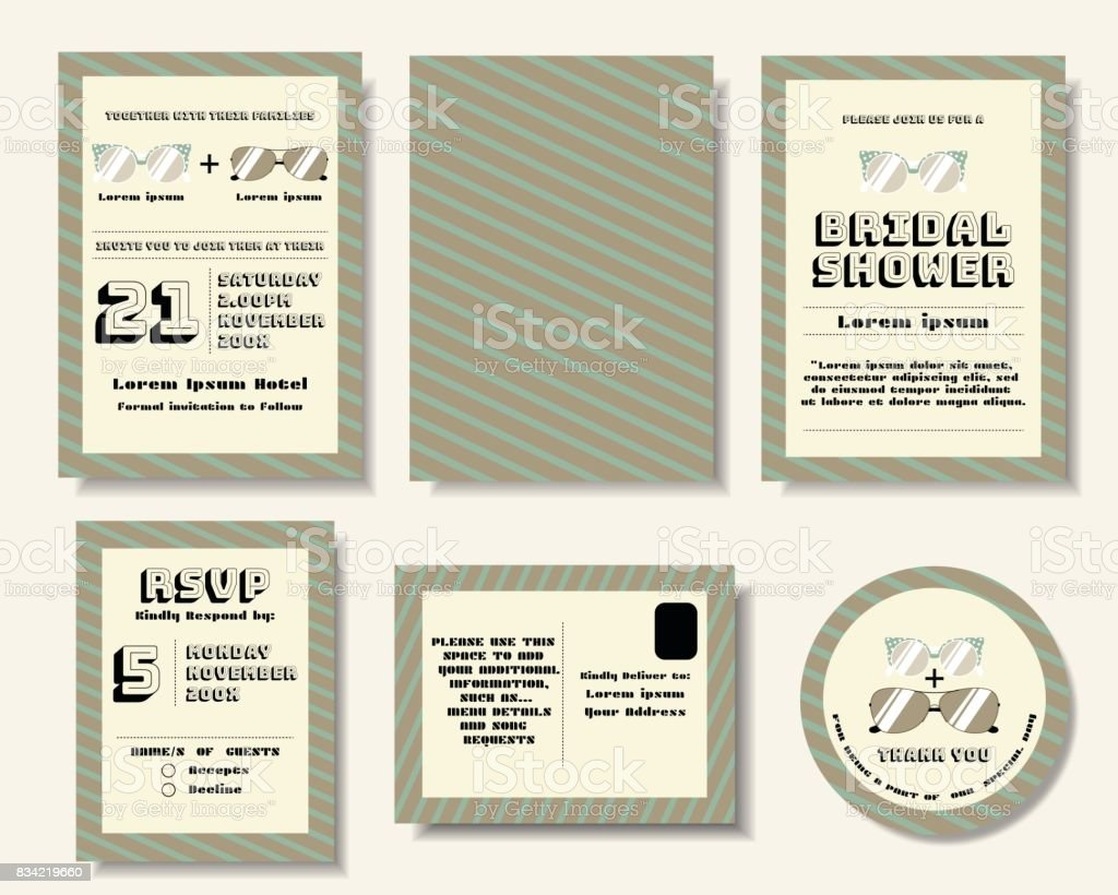 Set Of Pop Art Wedding Invitation Card Sun Glasses Retro StyleVector Illustration