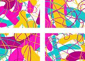set of  pop-art  doodle  patterns