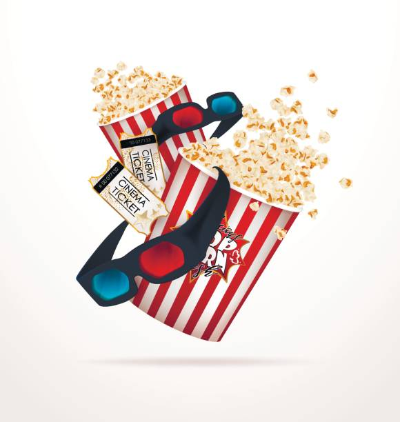 Satz von Popcorn, 3d Brille, Kinoticket. – Vektorgrafik
