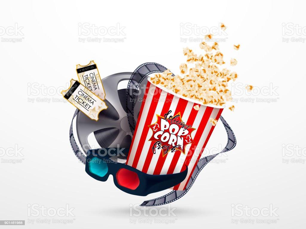 ポップコーン3 D メガネシネマト グラフ テープ映画チケットのセットです 3dのベクターアート素材や画像を多数ご用意 Istock
