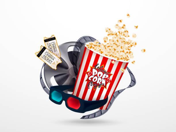 Juego de palomitas de maíz, gafas 3d, cinta cinematográfica, entradas de cine. - ilustración de arte vectorial