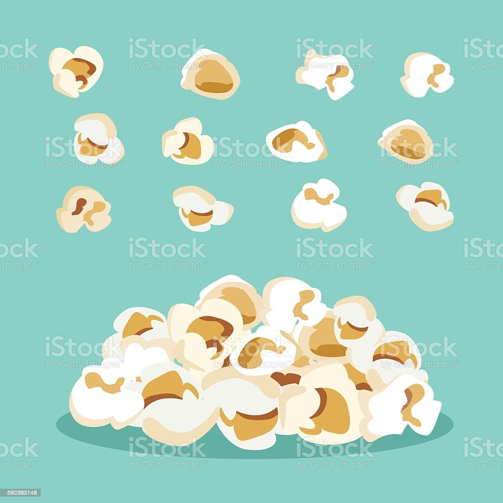set of popcorn vector flat  design vector art illustration