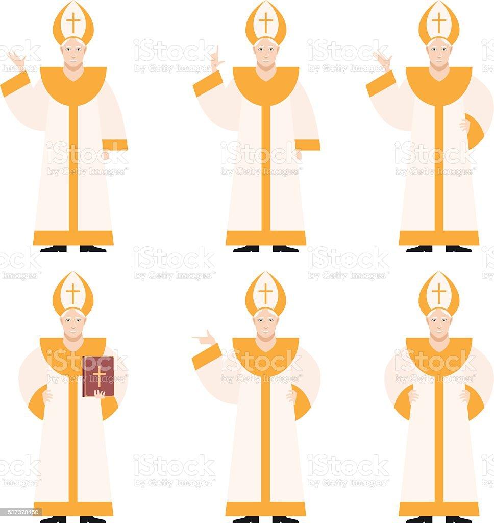Set of Popes vector art illustration