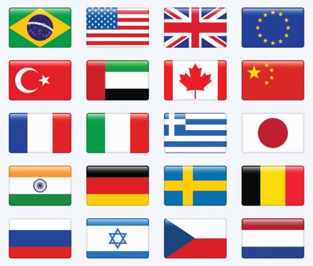 人気のある国のフラグのセット。光沢のある四角形ベクトルのアイコンを設定します。 - ドイツの国旗点のイラスト素材/クリップアート素材/マンガ素材/アイコン素材