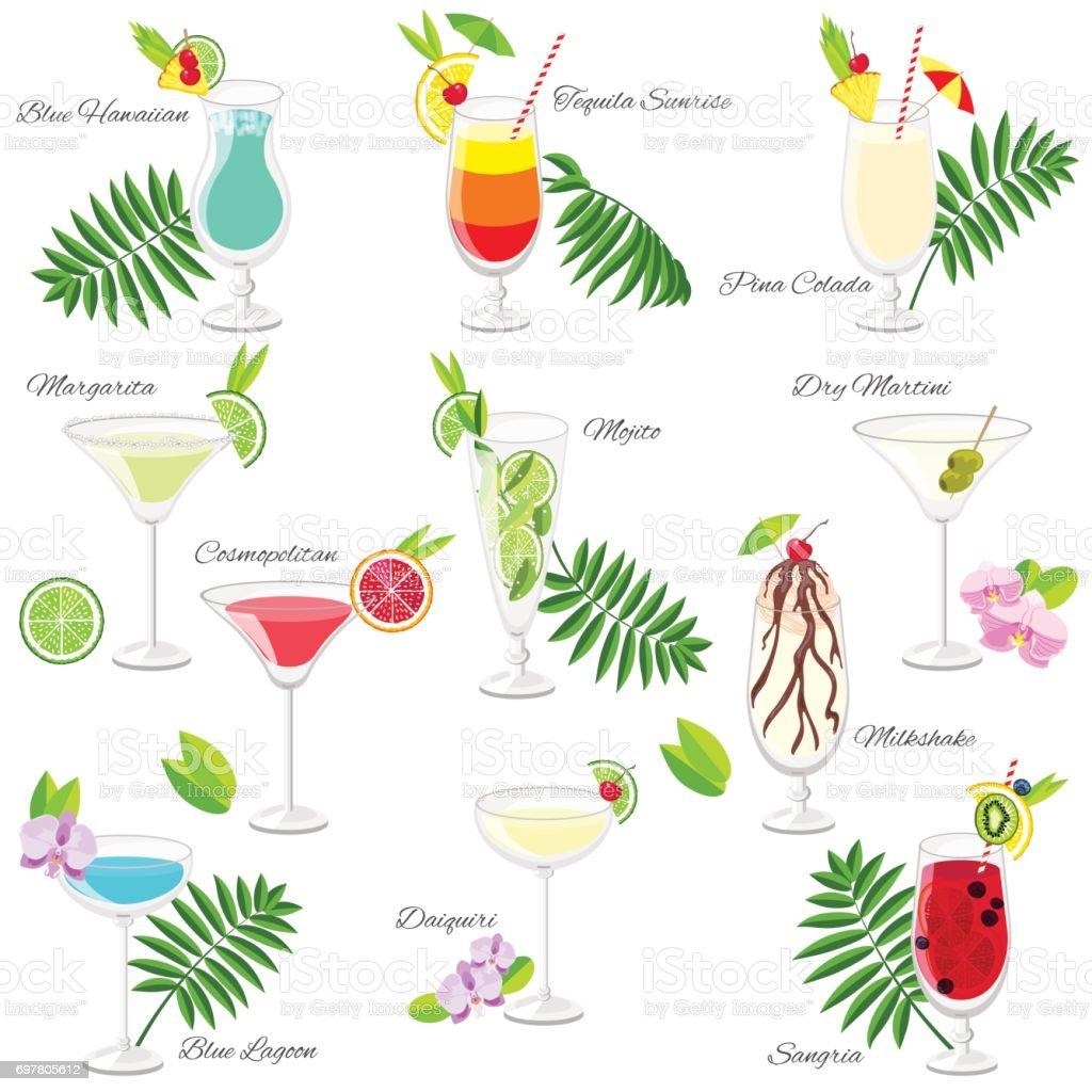 Entrancing Beliebte Cocktails Ideas Of Reihe Von Beliebten Sommer-cocktails, Isoliert Auf Weiss