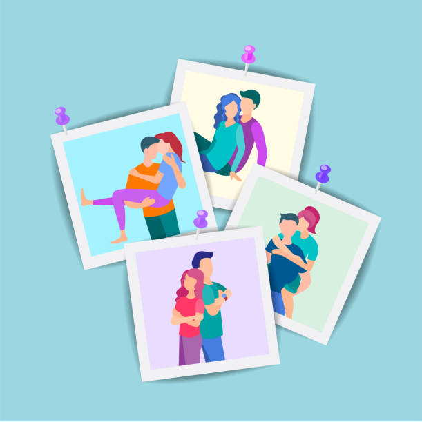 若い人たちの肖像画のセット。 - 家族写真点のイラスト素材/クリップアート素材/マンガ素材/アイコン素材