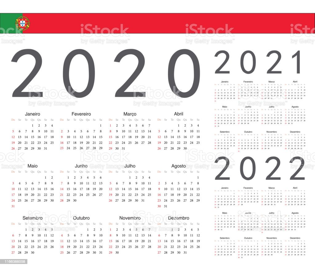 Set Of Portuguese 2020 2021 2022 Year Vector Calendars Stock