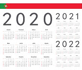 Set of Portuguese 2020, 2021, 2022 year vector calendars. Week starts from Sunday.