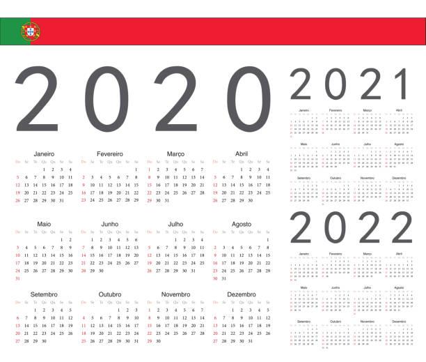 zestaw portugalskich kalendarzy wektorowych 2020, 2021, 2022. - kultura portugalska stock illustrations