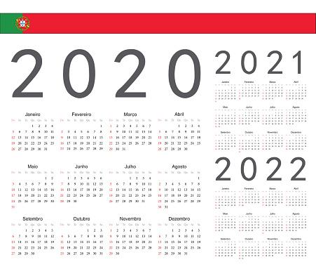 Ensemble De Calendriers Vecteurs Portugais 2020 2021 2022 Ans
