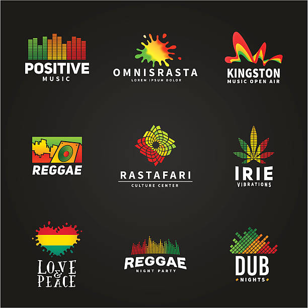 Set of positive africa ephiopia flag logo design. Jamaica reggae Set of positive africa ephiopia flag logo design. Jamaica reggae dance music vector template. Colorful speaker company concept on dark background. rastafarian stock illustrations