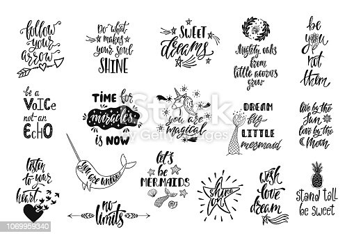 Set of positive inspirational quotes. Magical calligraphy hand drawn phrases about mermaid, narwhal, unicorn, dreams. Vector lettering for print, tshirt, poster. Typographic design.