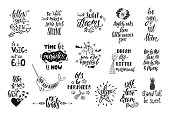 Set of positive inspirational quotes. Magical calligraphy hand drawn phrases about mermaid, narwhal, unicorn, dreams. Vector lettering
