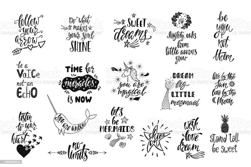 Ensemble de citations inspirantes positives. Calligraphie magique à la main des phrases dessinés sur la sirène, narval, Licorne, rêves. Lettrage de vecteur - Illustration vectorielle