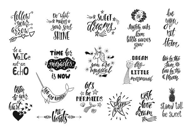 Set of positive inspirational quotes. Magical calligraphy hand drawn phrases about mermaid, narwhal, unicorn, dreams. Vector lettering Set of positive inspirational quotes. Magical calligraphy hand drawn phrases about mermaid, narwhal, unicorn, dreams. Vector lettering for print, tshirt, poster. Typographic design. motivation stock illustrations