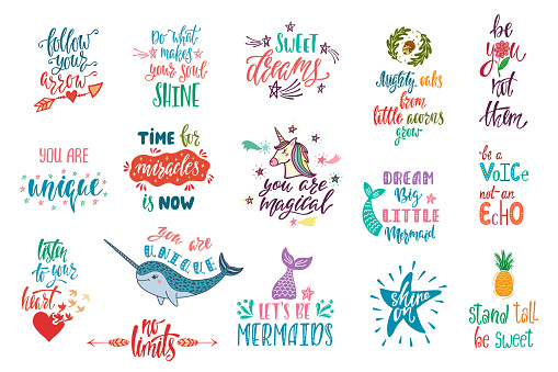 Set of positive inspirational quotes. Magical calligraphy hand drawn phrases about mermaid, narwhal, unicorn, dreams.