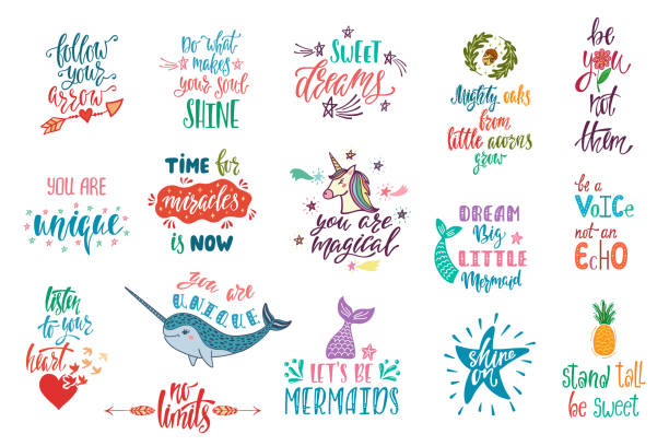 Set of positive inspirational quotes. Magical calligraphy hand drawn phrases about mermaid, narwhal, unicorn, dreams. Set of positive inspirational quotes. Magical calligraphy hand drawn phrases about mermaid, narwhal, unicorn, dreams. Vector lettering for print, tshirt, poster. Typography design. aphorism stock illustrations