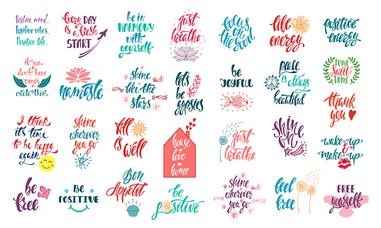 Set of positive inspirational quotes with sketch elements. Modern calligraphy hand drawn phrases. Vector lettering for print, tshirt, poster.