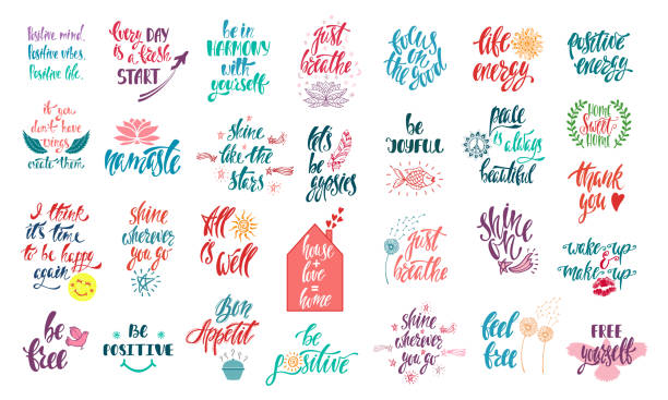 Set of positive inspirational quotes with sketch elements. Modern calligraphy hand drawn phrases. Vector lettering for print, tshirt, poster. Set of positive inspirational quotes with sketch elements. Modern calligraphy hand drawn phrases. Vector lettering for print, tshirt, poster. Typographic design. inspirational quotes stock illustrations