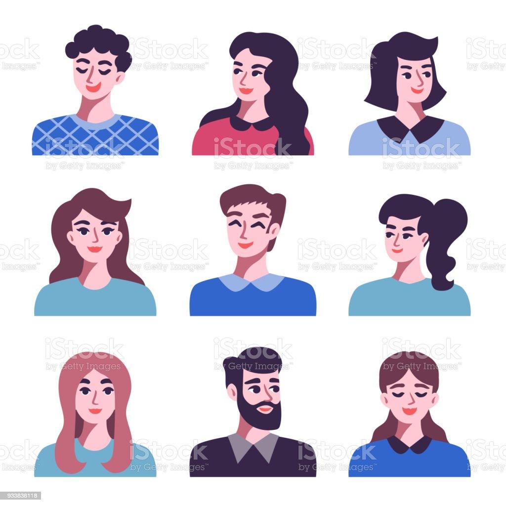 Set of positive men and women avatar icons vector art illustration