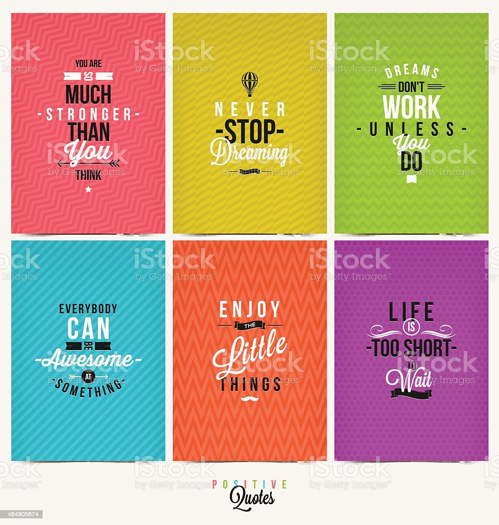 Set of Positive Quote Typographical Background vector art illustration