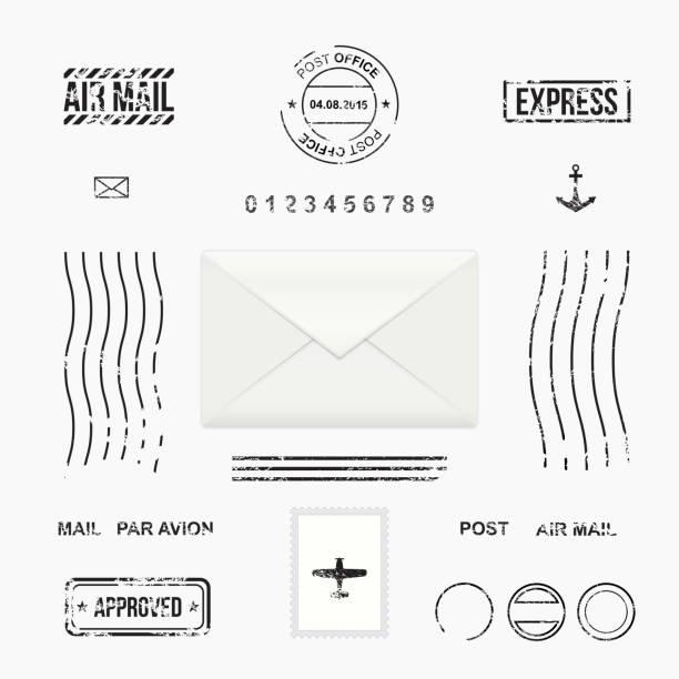Set of post stamp symbols Mail envelope, vector illustration postmark stock illustrations