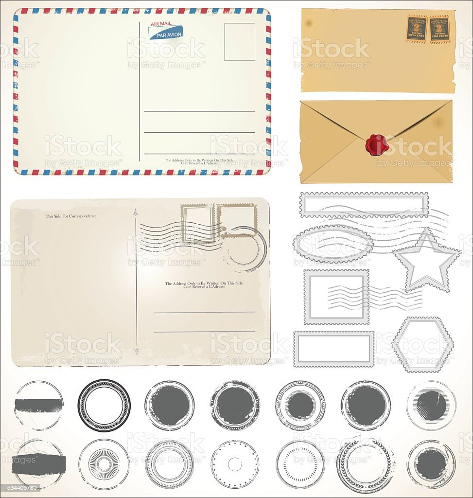Set of post stamp symbols vector illustration vector art illustration