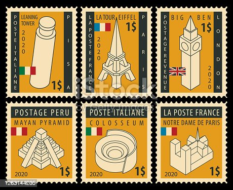 Set of postage stamps on the theme of travel with architectural attractions from various countries. Vector illustrations of famous places in the form of modern decorative stamps