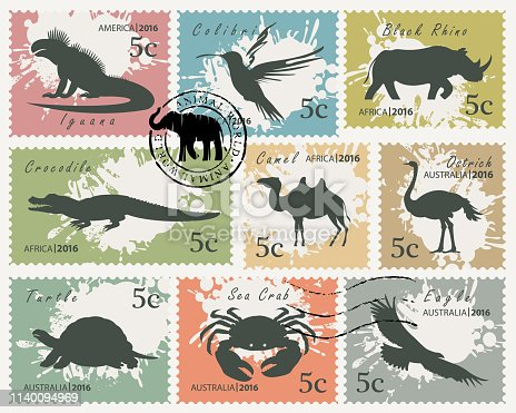 Vector set of postage stamps on the theme of wildlife animals and birds. Silhouettes of various animals on on an abstract background with spots in retro style
