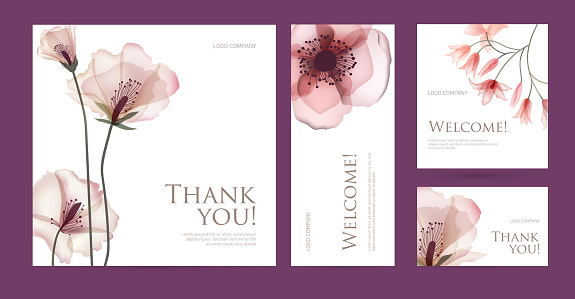 A set of postcard with the words of gratitude.