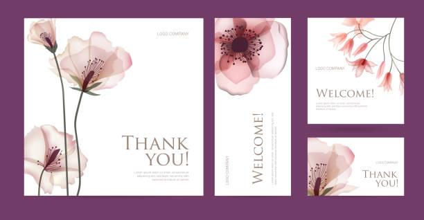 bildbanksillustrationer, clip art samt tecknat material och ikoner med en uppsättning vykort med ord av tacksamhet. - spa