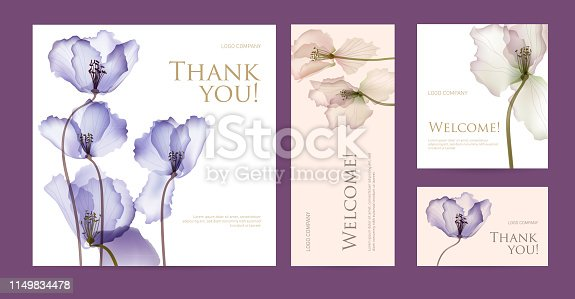 Design template of business cards with abstract spring flowers for the hotel, beauty salon, spa, restaurant, club. Vector illustration
