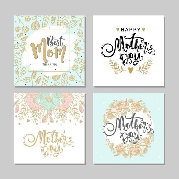 ilustraciones, imágenes clip art, dibujos animados e iconos de stock de set de tarjetas postales para el día de la madre con flores y la caligrafía moderna. ilustración de vector. - día de la madre