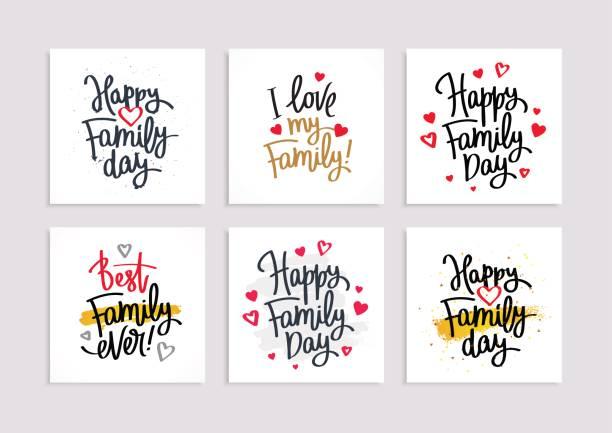 Satz von Postkarten für den Familientag – Vektorgrafik
