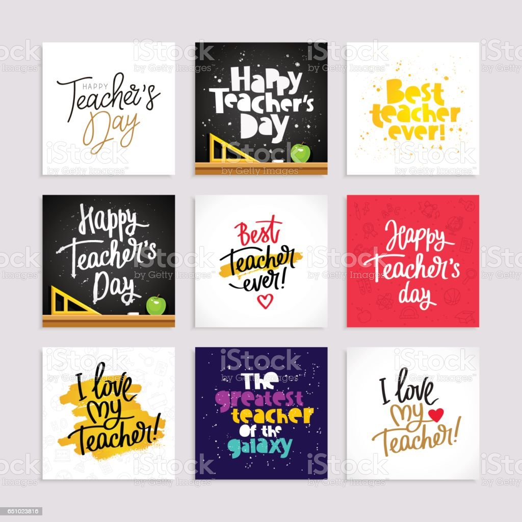 Jeu de cartes postales pour la journée des enseignants - Illustration vectorielle