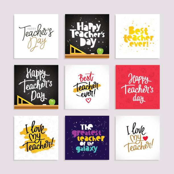 Set of postcards for the Teacher's Day vector art illustration