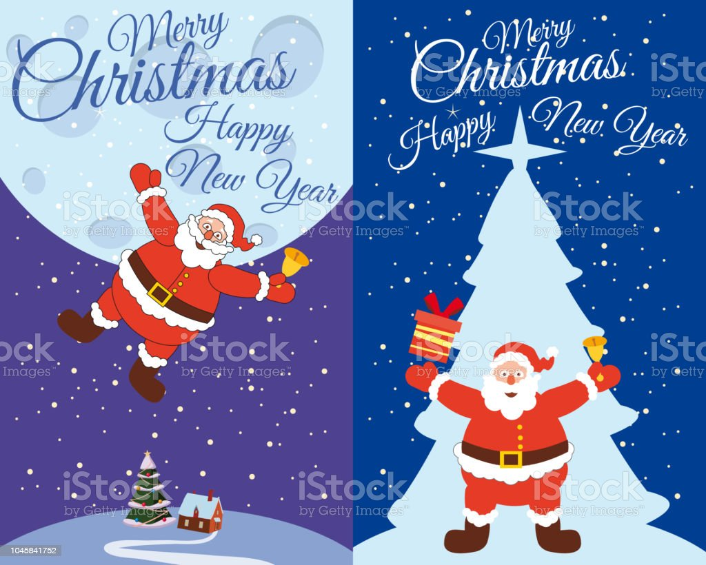 A set of postcards Santa Claus flying with a bell to give gifts,...