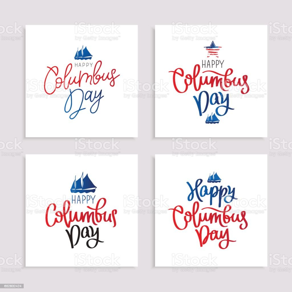 Set of postcards to the Columbus Day vector art illustration
