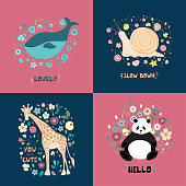 A set of postcards with cute animals, flowers and hand lettering. Giraffe, panda, snail, whale for poster print on clothes. Vector