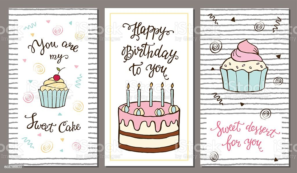 Set Of Postcards With Hand Lettering And Sweet Cake Stock Vektor Art